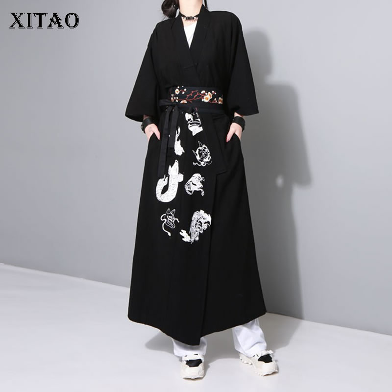 [XITAO] Spring Summer 2019 New Arrival Women Korea Loose Casual Fashion Patchwork Sashes Embroidery Match All   Trench   WBB2969