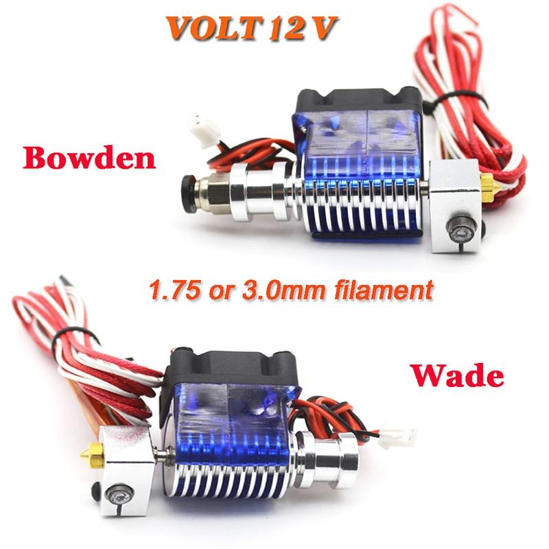 Lastest V6 J-testa All metal Hotend Wade o Bowden Estrusore Riscaldatore Termistore Ugello a Ventaglio dissipatore di Calore per 1.75 /3mm 3D Parte Della Stampante