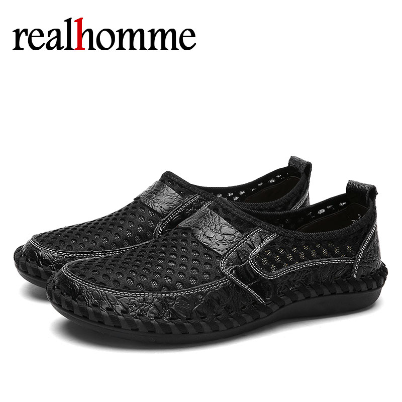RealHomme Casual Breathable Loafers Men Shoes Mesh Summer Moccasins Soft Sole Men's Loafers Slip On New Mens Footwear Shoes bimuduiyu new fashion mens shoes spring summer breathable quality casual shoes slip on mens loafers designers moccasins men shoe