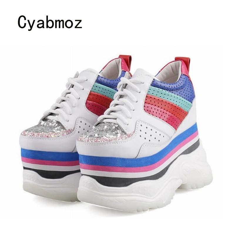 Cyabmoz/женские пикантные туфли на высоком каблуке, визуально увеличивающие рост; Женские туфли лодочки на платформе с блестками; Кроссовки;