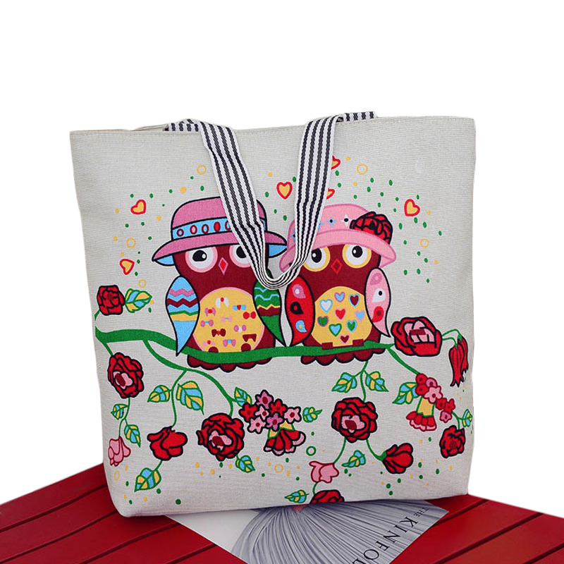 Big Capacity Cartoon Owl Design Womens Handbag High Quality Canvas Girls Butterfly School Bag Fashion Casual Tote Shopping Bag