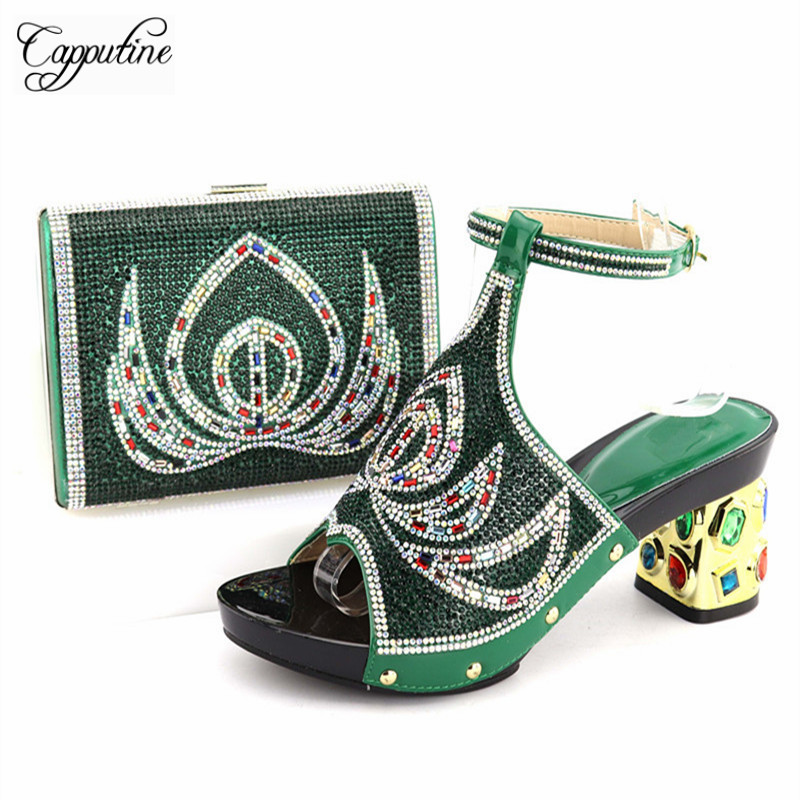 Capputine Latest African Shoes And Matching Bags Set Italian Rhinestone Shoes And Bag Set for Party Nigerian Party Shoe and Bag italian shoes with matching bag new design african pumps shoe heels fashion shoes and bag set to matching for party gf25