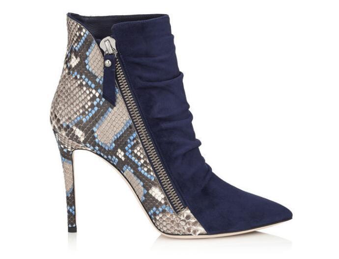 Chaussures Grande Plate 5 Sexy Flock Pointu Black Cm Mode De Mélangées Femmes Enfers Zip forme Couleurs 10 Minces Taille Bottes Orteil mollet Chaude Mi Z00xU51