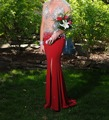 2016 new style red mermaid prom dresses sexy evening dress bridesmaid dresses sleeveless V-neck chiffon floor length dress party