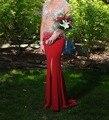2016 nuevo estilo red sirena vestidos de baile sexy vestido de noche de dama de honor vestidos sin mangas Con Cuello En V gasa palabra de longitud vestido de fiesta