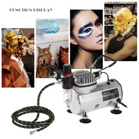 KKmoon New 3 Airbrush Kit With Air Compressor Dual Action Hobby Spray Air Brush Set Tattoo Nail Art Paint Supply Cleaning Brush