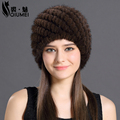 Mink Fur Hat For Women With Natural Real Fur Female Cap Women's Winter Hats Mink Fur Real Knitting Caps Pineapple Hat Hold Ears
