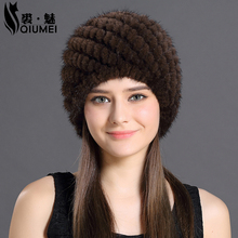 QiuMei Mink Fur Hat Women With Natural Real Fur Female Cap Women's Winter Hat Mink Fur Real Knitting Cap Pineapple Hat Hold Ear
