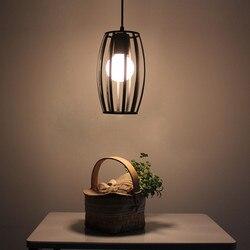 Darmowa wysyłka nowoczesna minimalistyczna skandynawska osobowość retro kute pręt z żelaza restauracja kawiarnia industri GY165 w Wiszące lampki od Lampy i oświetlenie na