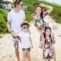 1 unids ropa a juego de la muchacha de la familia de la madre Del Verano vestido de las muchachas de flor Viste padre Boy t shirt pantalones conjuntos Trajes