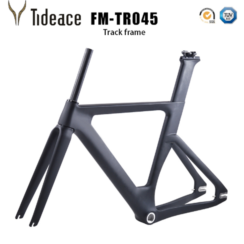 China Carbon Track Frame Carbon Fiber Fixed Gear bike frame Carbon Racing Tracking bike Frameset 49/51/54cm with fork seatpost fixed gear bicycle frame bike accessories steel frame 53 48cm road bike frameset match fork