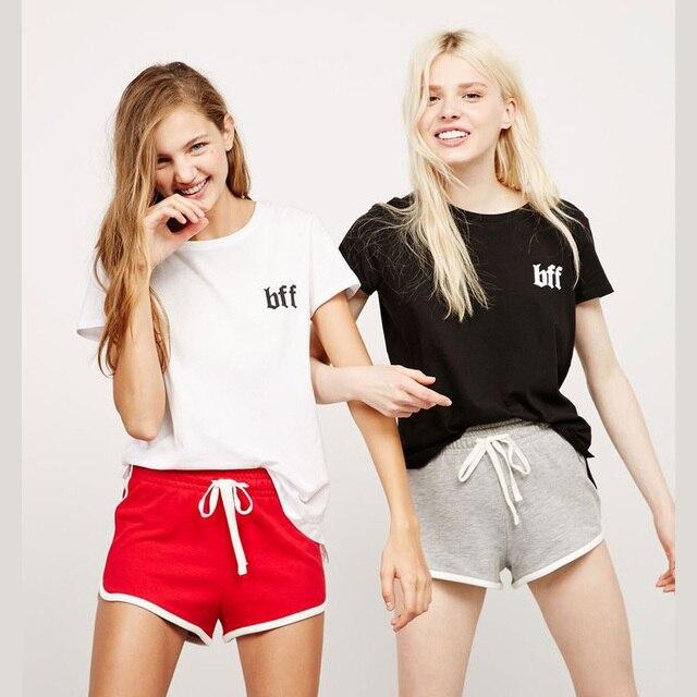 7967535855 100 Cotton Bff Printed Loose Short Sleeve T Shirts Women Girls Teen TRAFA  Fashion Tops Harajuku