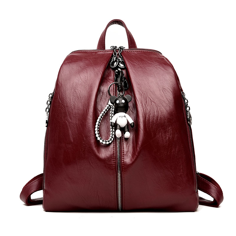 LANYI High-quality Leather Women Backpack Bear Ornaments Lar
