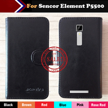 Factory Price! Sencor Element P5500 Case 6 Colors Luxury Vintage Dedicated Flip Leather Exclusive Cover Smart Phone+Tracking