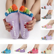 1Pair New Anti-Slip Women Yoga Socks Ankle Grip Durable Colorful Five Fingers Cotton Full Toe 6 Colors