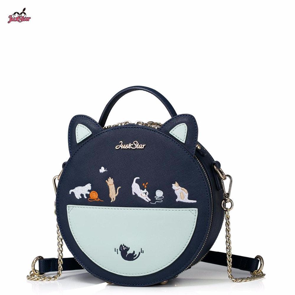 New Just Star Brand Design Cats Embroidery Chains PU Women Leather Girls Ladies Handbag Shoulder Small Round Bag camry mirror lamp 2006 2007 2008 2009 2011 camry fog light free ship led camry turn light camry review mirror camry side light