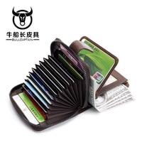 BULLCAPTAIN Men Genuine Leather Wallet Coin Purse Card Holder Small Wallet Men Portomone Male Clutch Zipper Clamp Money 2 style