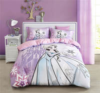 Фиолетовый Эльза Disney мультфильм 3D печатных Постельное Бельё для Обувь для девочек Украшения в спальню хлопчатобумажное постельное одеяло