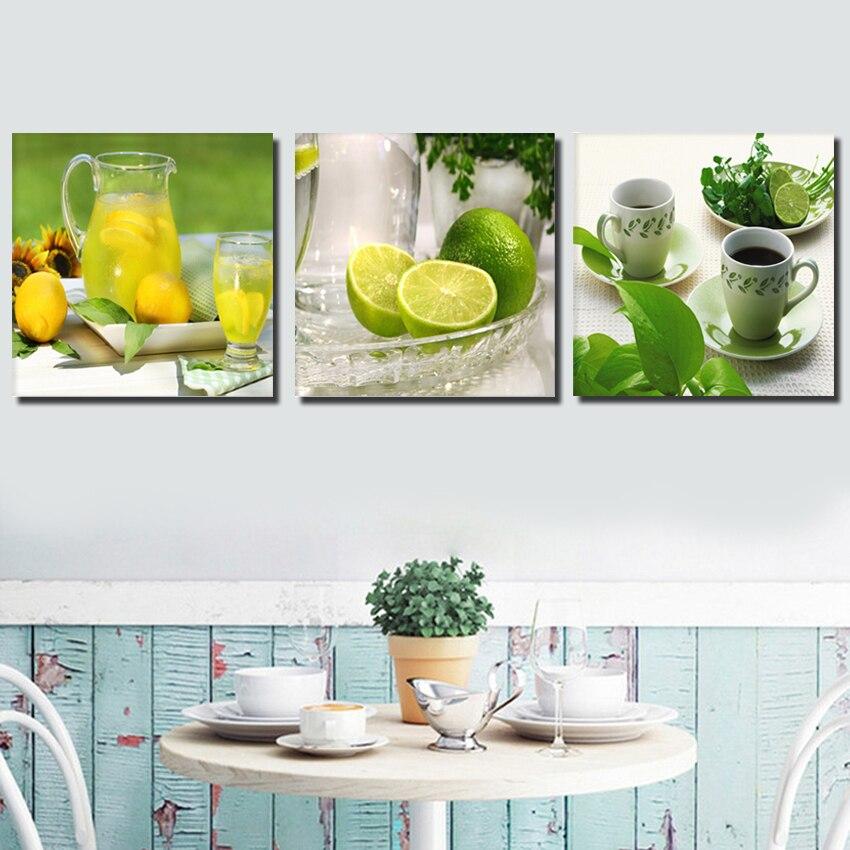Triptych limon meyvəsi yaşıl kətan kətan izlərində evin - Ev dekoru - Fotoqrafiya 3