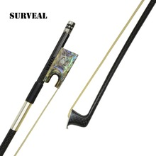 Free shipping ,New  Carbon fiber Violin bow  with best Siberia horse tail and Ebony part inlaid with abalone shell,size 4/4 nickel silver ebony abalone pairs eyes carbon fiber upright bass bow fp804