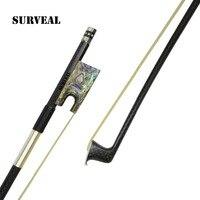 SURVEAL Advanced Carbon Fiber Violin Bow Best Siberia Horse tail Violino Arco de fibra de carbono Abalone Shell Frog Size 4/4