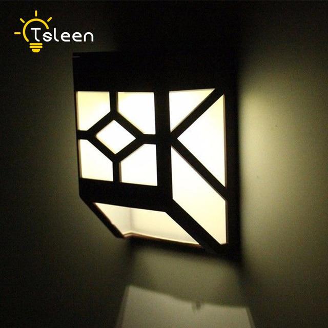 Tsleen 2x Solar Powered Wall Mount Led Light Garden Path Outdoor