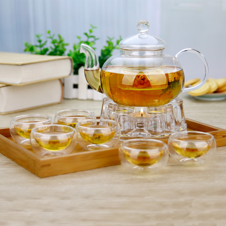 8in1 Gift Teaset Heat resistant Glass Teapot With 6 double wall cups and warmer Giftset Microwavable