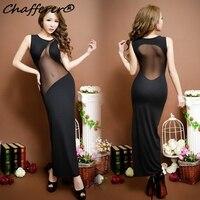 New KTV Nightclub Black Split Long Dress Ultimate Temptation Sleeveless Slit Ladies Dresses Gown Women Sexy