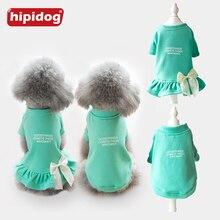 Hipidog New Arrival Autumn Fashion Pet Printed Clothes Coat Bowknot Dress Clothing Small Dog Coat Costume for Puppy Cat XS-XXL цена в Москве и Питере