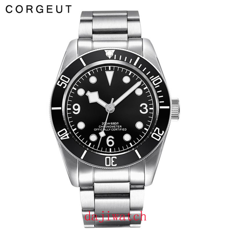 Механические часы Corgeut, светящиеся сапфировые Schwarz Bay, мужские автоматические спортивные часы для плавания, роскошные Брендовые мужские мех... - 5