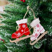 Christmas Tree Wooden Skates Ski Shoes Pendant Christmas Painted Decorative Pendant Wood Ornament Home Door Xmas Tree Decoration(China)