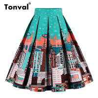 Tonval Vintage Pleated Skirt Navy Blue Floral Print High Waist Skirts Womens Retro School Summer 2019 Skirt 1