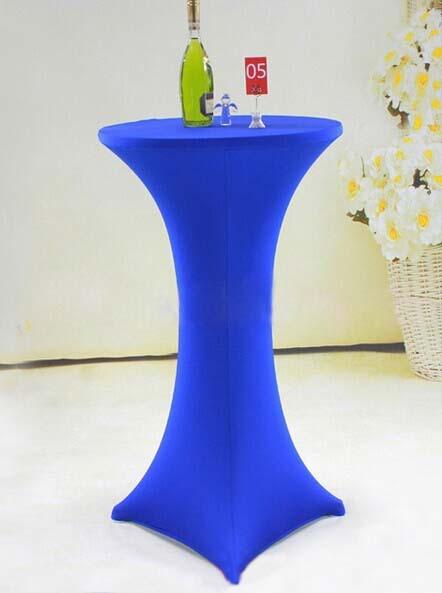 Free Shipping 10pcs Royal Blue Lycra Stretch Tail Table Covers Highboy Bar Spandex
