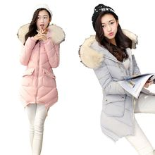 Winter 2016Korea Latest Fashion Women font b Coat b font Hooded Fur Collar Keep Warm Women