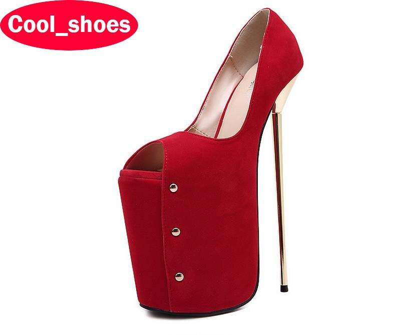 ФОТО women shoes sexy high heels brand new peep toe platform nightclub extreme heel 23 cm pumps party fashion rivets 191