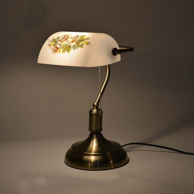 High grade american style retro table lamp with pull chain switch high grade american style retro table lamp with pull chain switchglass lampshade metal mozeypictures Images