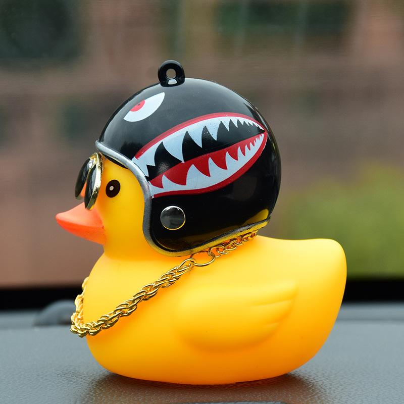 Society Lovely Lucky Duck Car Ornament Creative Decoration Car Dashboard Toys With Helmet And Chain Funny Car Accessories