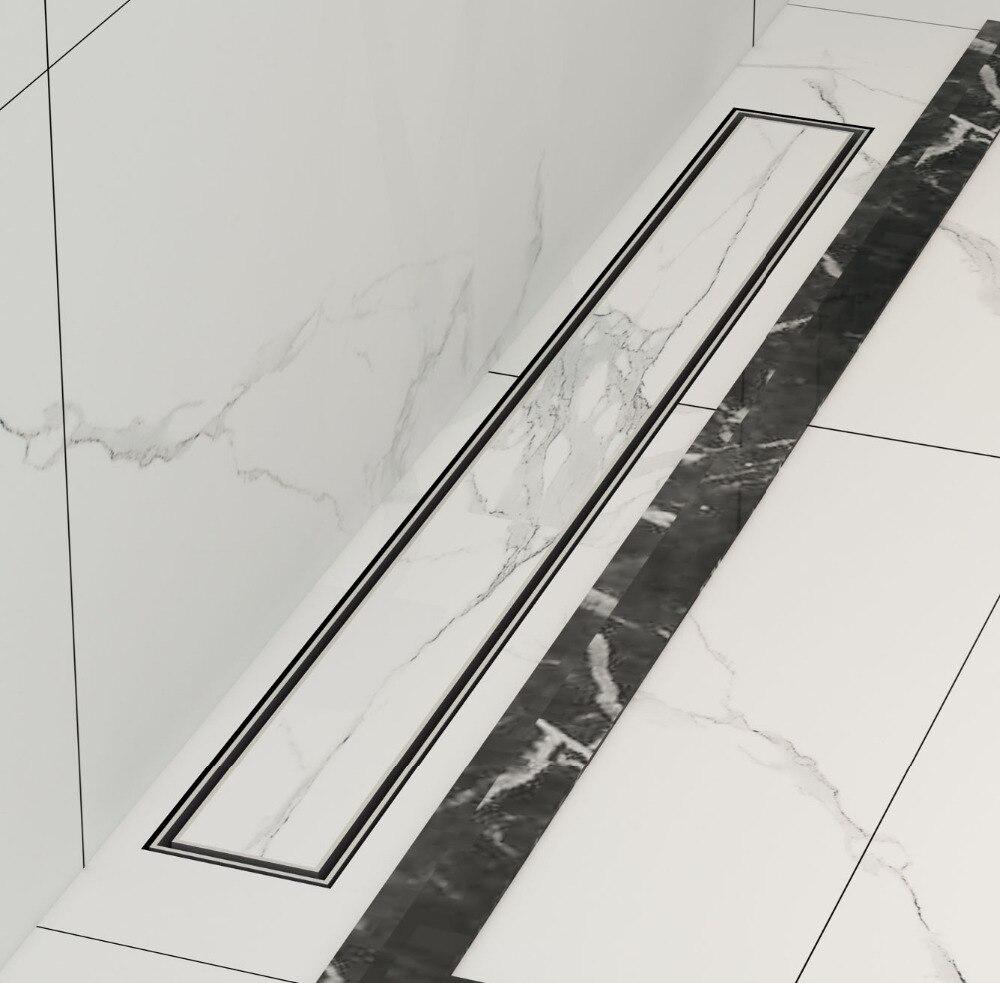 DIYHD 60 CM-100 CM carrelage insérer drain de douche en acier inoxydable plancher douche drain salle de bain linéaire drain vertical
