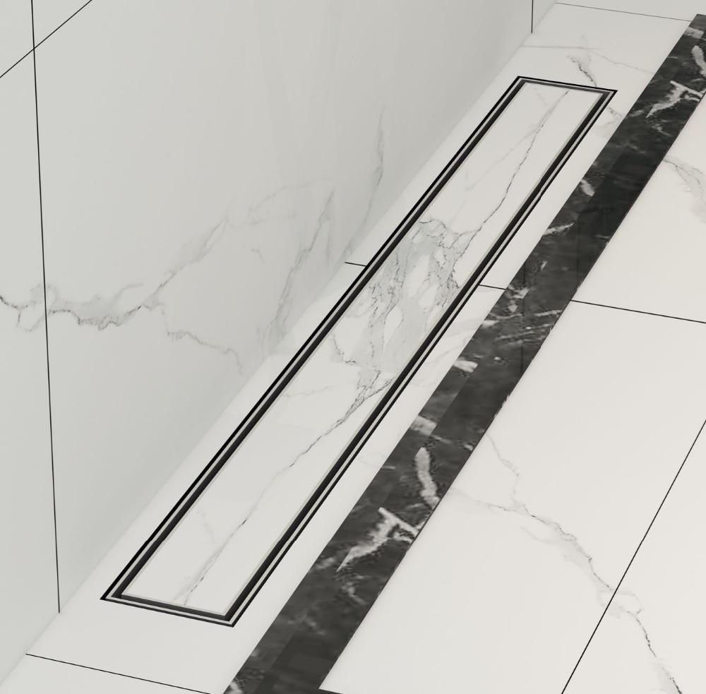 DIYHD 60 CM-100 CM carrelage insert douche drain en acier inoxydable plancher douche drain salle de bain linéaire vertical drain