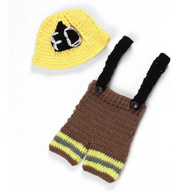 2 sztuk moda noworodka ubrania dla dzieci dla chłopca i dziewczyny noworodka strażak szydełka ubrania dla niemowląt dzianiny tkaniny fotografowania noworodków rekwizyty
