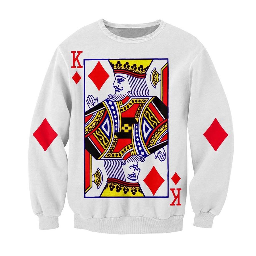 Brand clothing Autumn Mens sweatshirt harajuku casual Pullovers Poker King of Diamonds 3d print Crewneck Sweatshirts in Hoodies amp Sweatshirts from Men 39 s Clothing