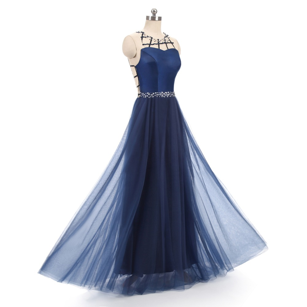 ruthshen Long Evening Dresses 2018 Navy Blue Ruched Tulle Formal Prom Dress  Cheap Real Photo Robe Longue Soiree-in Evening Dresses from Weddings    Events on ... f1bb89c5d353