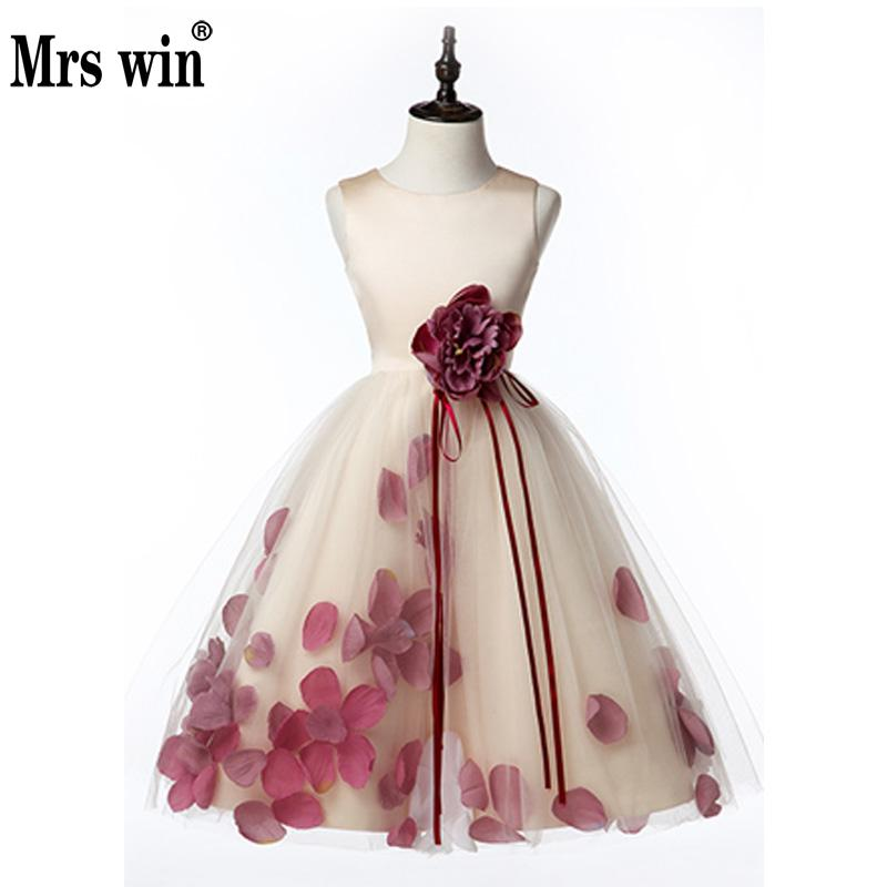 2018 New Flower Girl Dresses Elegant O-neck Sleeveless Apllique With Flower And Bow Ball Gown For Girls Robe De Bal Enfant X