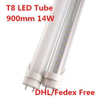 T8 светодиодные трубки 900 мм 3ft 14 Вт LED Light Tube люменов 85-265 В свет офиса свет пробки для сетки свет теплый/холодный белый