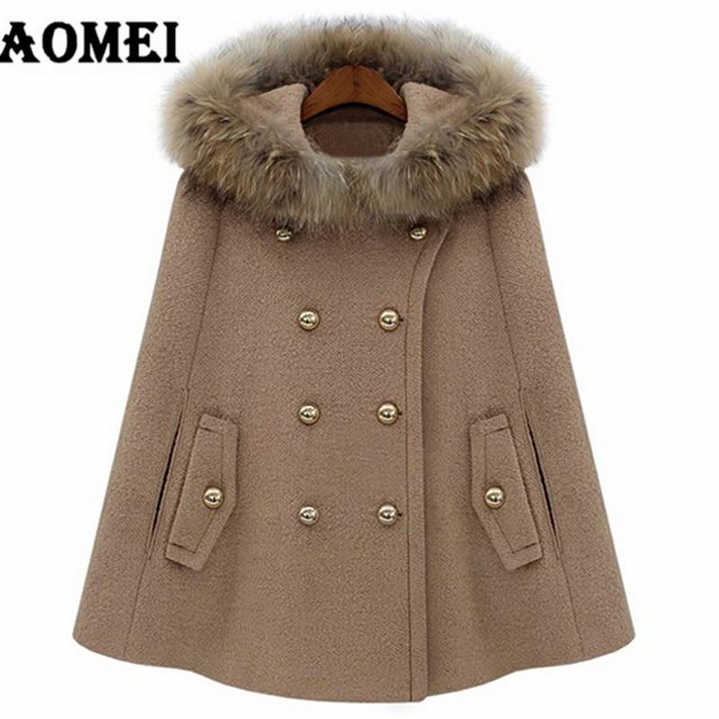Меховая шапка Осенне-зимняя Дамская обувь шерстяные Outcoats женские пальто, плащ, верхняя одежда теплые модные свободные красный манто Femme Двойные кнопки накидка - Цвет: CAMEL