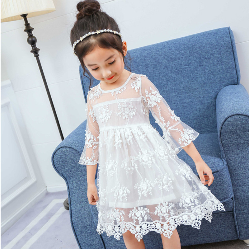 4856298e363db ᗑLace Flower Elegant Girls Dress 2018 New Summer 3 4 5 6 7 8 Year ...