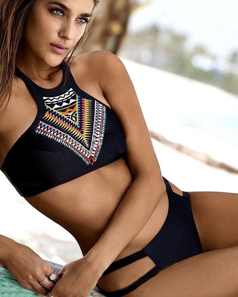 47904ddfa2e Tribal Print Bikini Women Bathing Suit Sexy High Neck Halter Biquini Crop  Black Brazilian Swimwear 2016 Sexy Beach Swimsuit