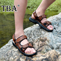 Tba sandals men's leather sandals breathable summer gladiator shoes male summer genuine leather sandals male