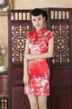 Red Chinese Traditional Dress Women Short Mini Qipao Fashion Silk Rayon Cheongsam Flower Mujer Vestido Size S M L XL XXL NC002