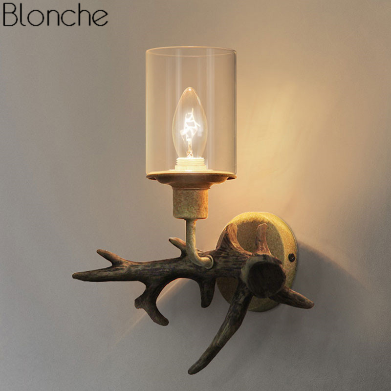 Retro Resin Antler Wall Lamp Led Light American Country Wall Sconce Loft Luminaire for Bathroom Bedroom Bar Home Decor Lighting art deco retro wall lamp american country wall light resin deer horn antler lampshade decoration sconce free shipping